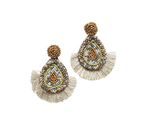Fringe Gold and Grey Tone Earrings
