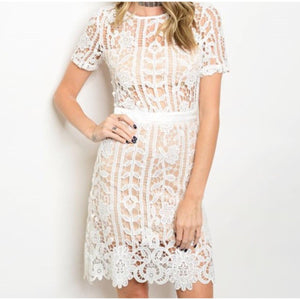 White Nude Lace Dress