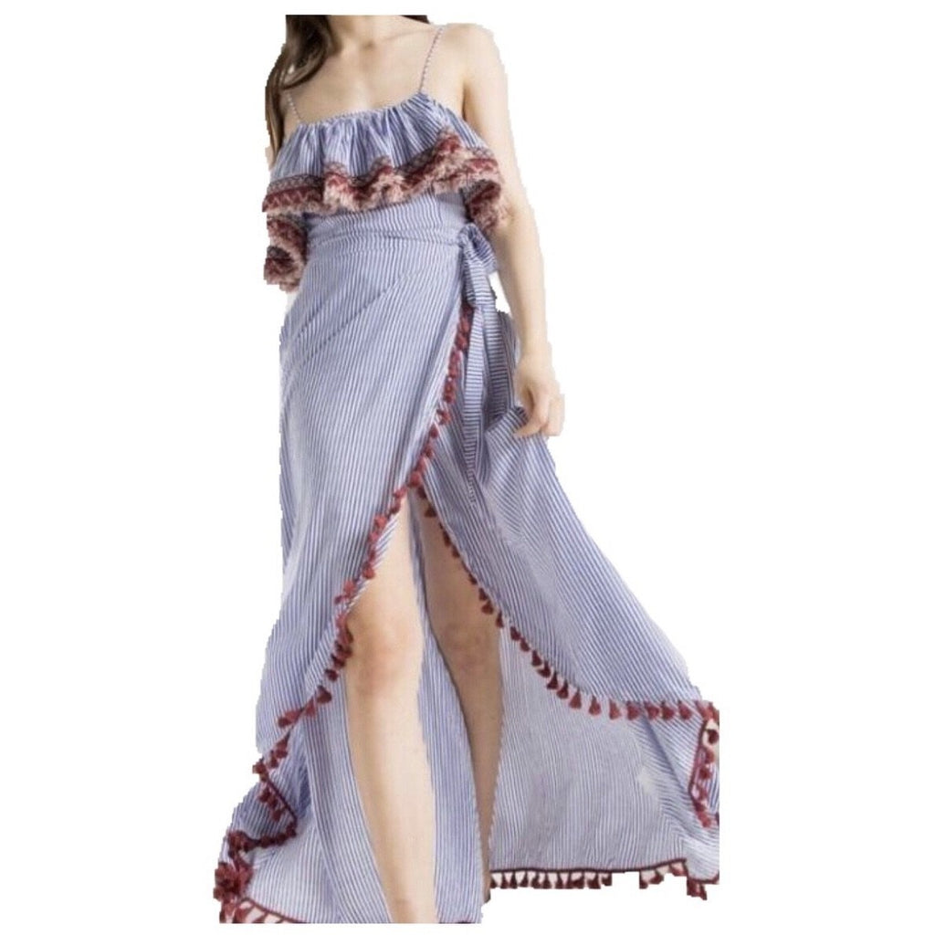 Striped Fringe Hem Maxi Dress