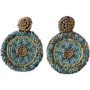 Round Blue And Gold Beaded Earrings