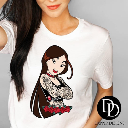"""Tattooed Princess Mulan"" Screen Print Graphic Tee"