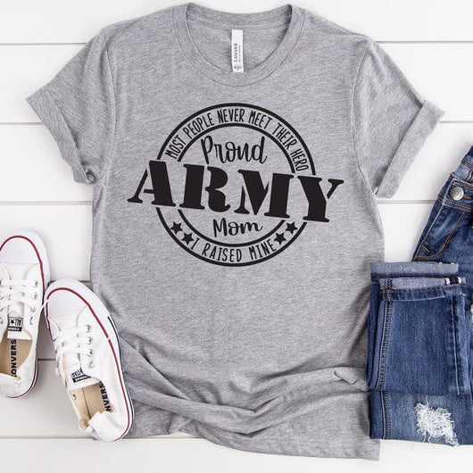 """Proud Army Mom"" Circular Stamp Design Screen Print Tee"
