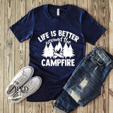 """Life Is Better Around The Campfire"" Custom Screen Print Graphic Tee"