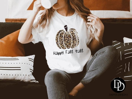 """Happy Fall Y'all"" Screen Print Custom Graphic Tee"