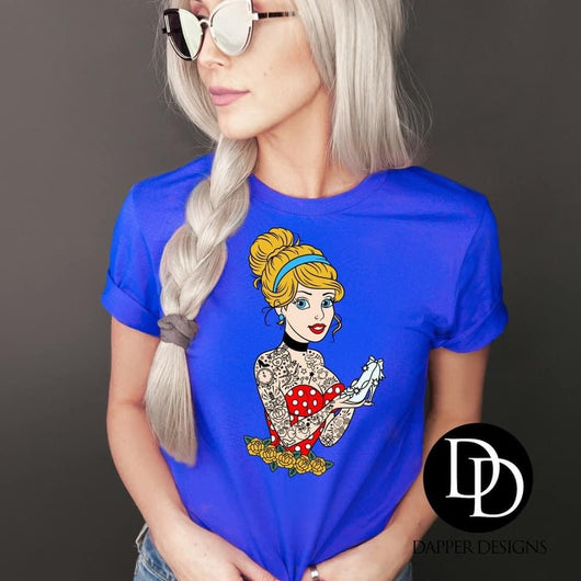 """Tattooed Princess Cinderella"" Screen Print Graphic Tee"