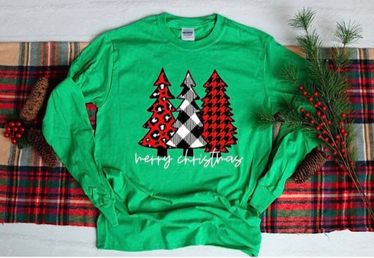 """Merry Christmas Houndstooth"" Long Sleeve Screen Print Tee"