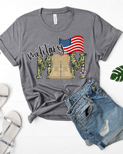 """Military Mom"" Boots and Flag Screen Print Graphic Tee"
