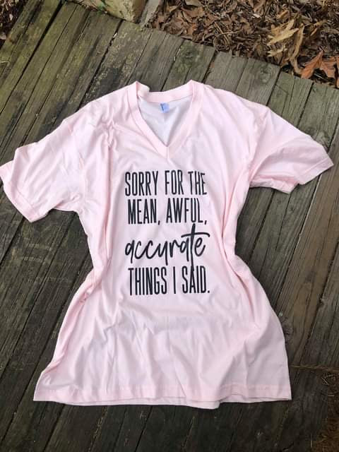 """Mean Awful Accurate"" V-Neck Screen Print Graphic Tee"