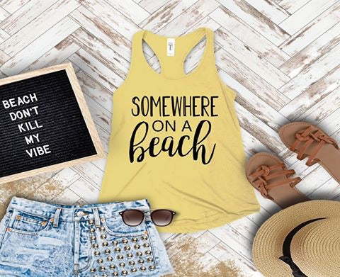 """Somewhere On A Beach"" Screen Print Graphic Tank"