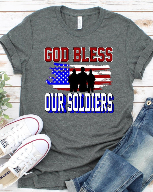 """God Bless Our Soldiers"" Screen Print Graphic Tee"