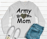"""Army Mom"" With Arrow and Heart Long Sleeve Graphic Tee"