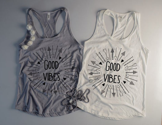 """Good Vibes"" Screen Print Graphic Tank"