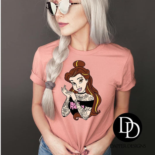 """Tattooed Princess Belle"" Screen Print Graphic Tee"