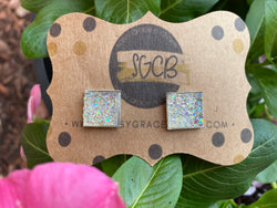 """Bubbly Personality"" Square Druzy Stud Earrings"
