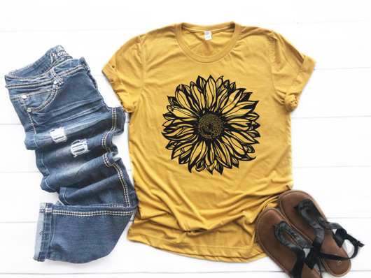 """Sunflower Fields"" Black Flower Screen Print Graphic Tee"