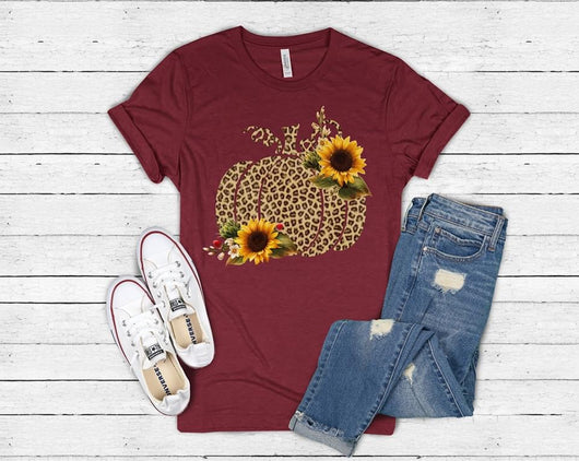 """Sunflower Leopard Pumpkin"" Screen Print Custom Graphic Tee"