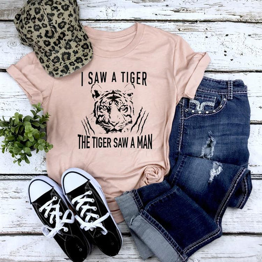 """I Saw A Tiger"" Screen Print Custom Graphic Tee"