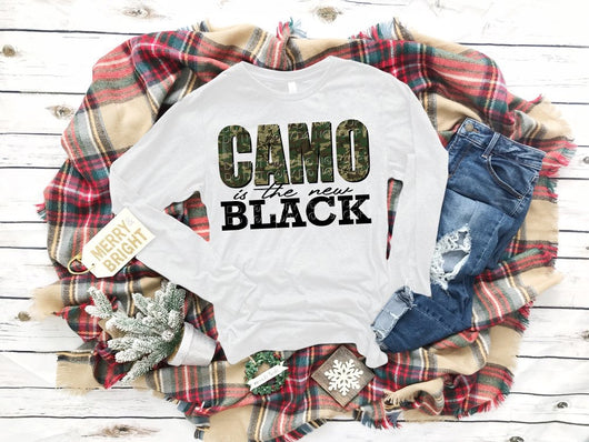 """Camo Is The New Black"" Screen Print Long Sleeve Graphic Tee"