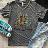 """Merry Christmas Fanciful Trees"" Screen Print Tee"