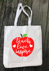 """Where Ever I Go"" Canvas Totes-Teachers Edition"
