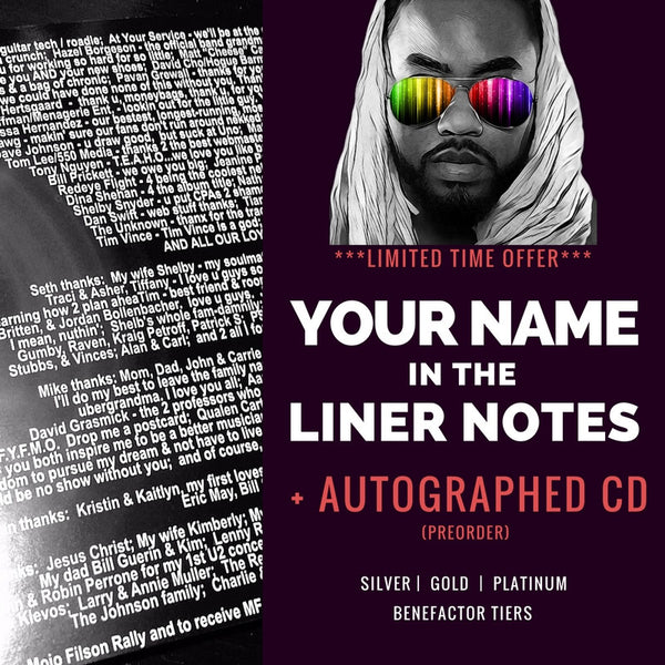 Your name in Mister Curry's album liner notes + Autographed CDs
