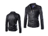 Mens Faux Leather Biker Jacket in Black