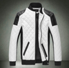 Mens Motorcycle Windproof Faux Leather Jacket in Black