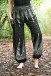 Black Peacock Harem Boho Pants