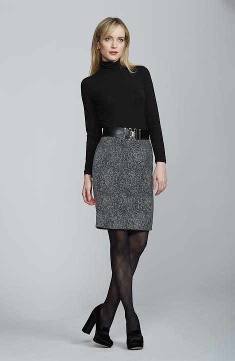 Chelsea Skirt - Black and White Tweed