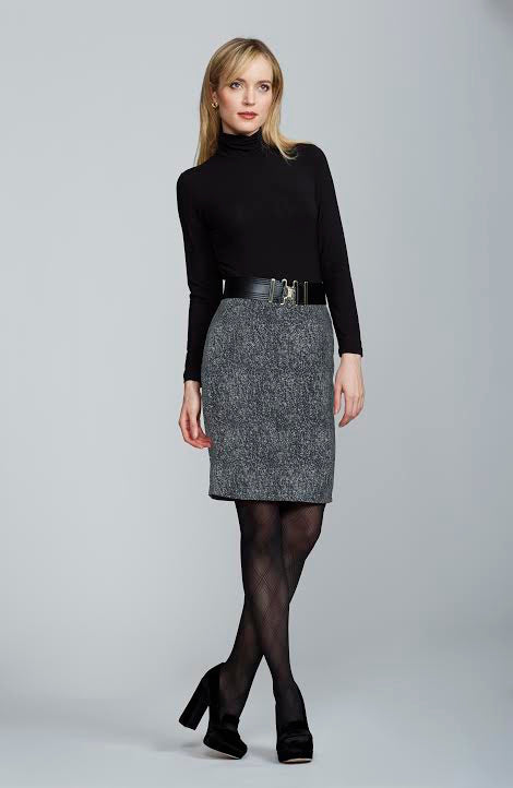Women's Chelsea Skirt in Black and White Tweed | Nora Gardner - Front