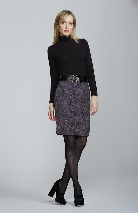 Women's Chelsea Skirt in Merlot and White Tweed | Nora Gardner -  Front
