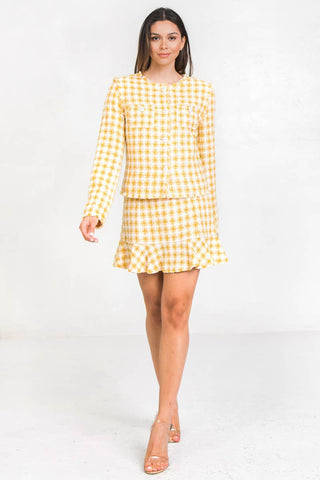 Boucle Jacket - Yellow and White