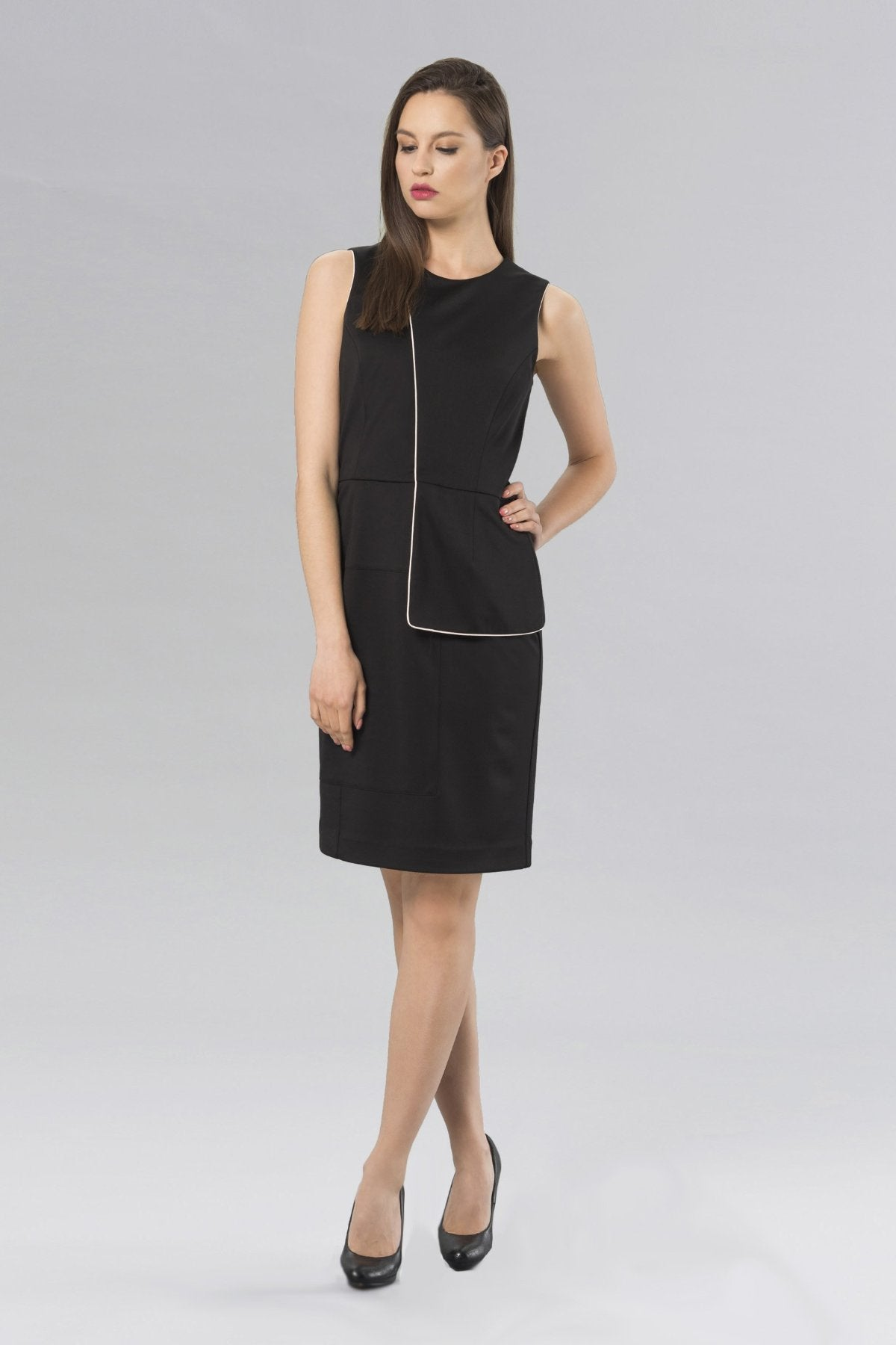 Women's Anina Peplum Dress in Black | Nora Gardner -  Front