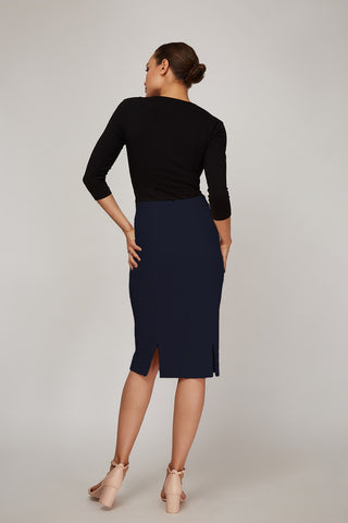 Women's Rita Skirt in Dark Indigo | Nora Gardner Back