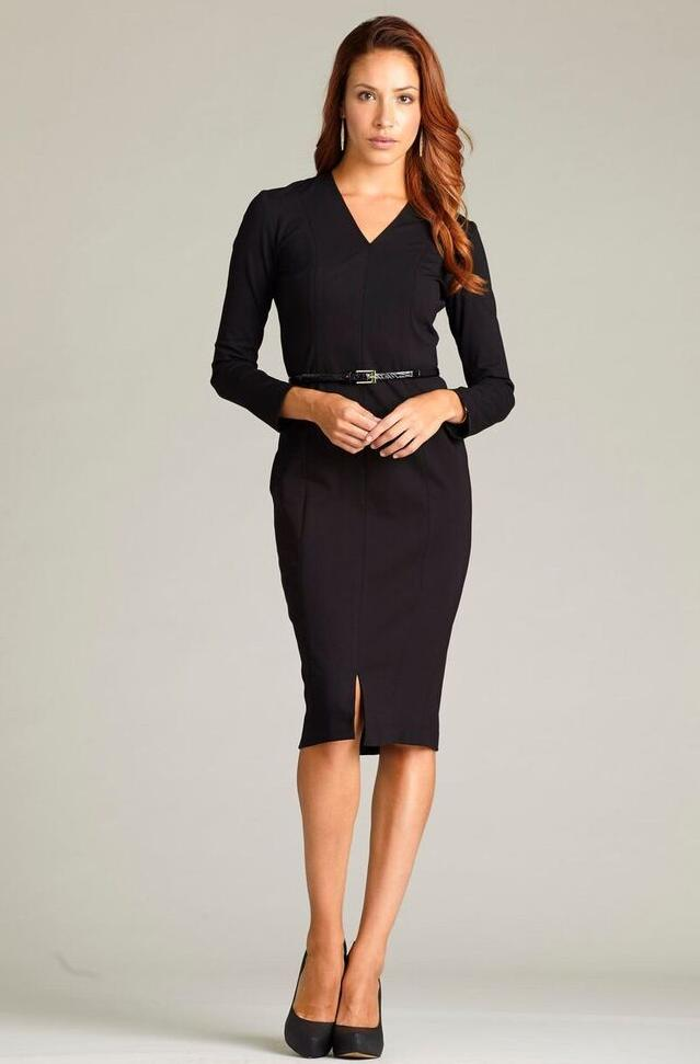 Diana Dress with Sleeves - Black