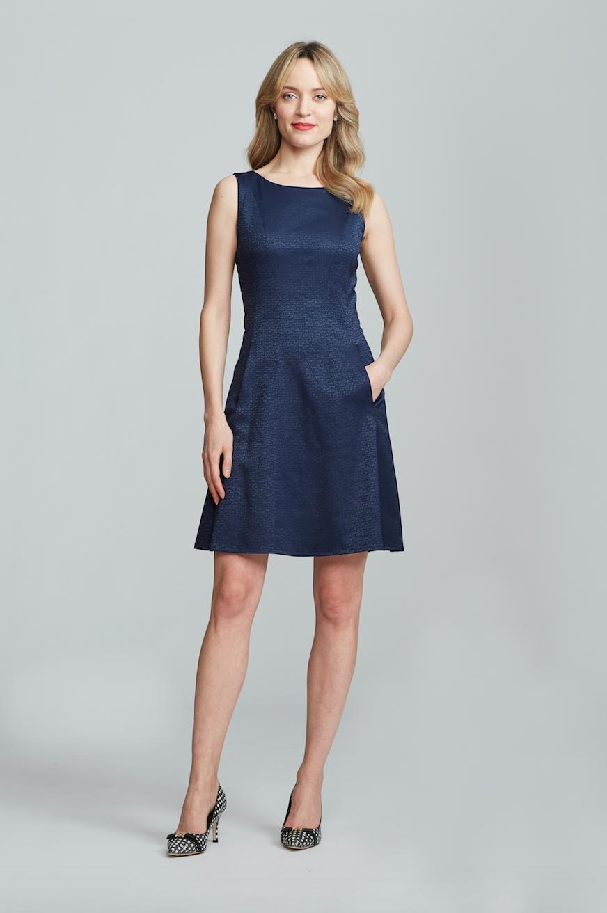 Erin Dress - Navy Jacquard