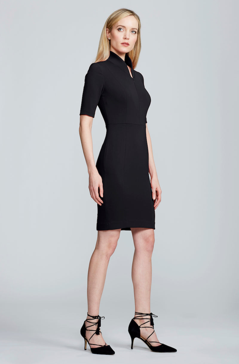 Women's Sleeved Evelyn Dress in Black | Nora Gardner Side