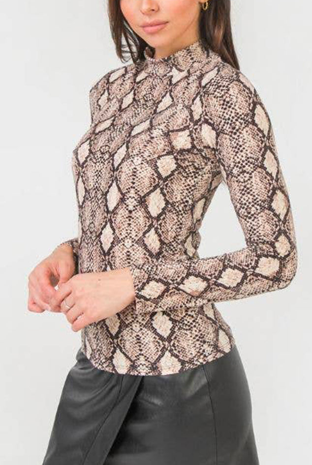 Ribbed Knit Top - Snake Print
