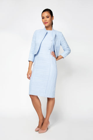 Women's Mila Boucle Jacket in Ice Blue | Nora Gardner Front