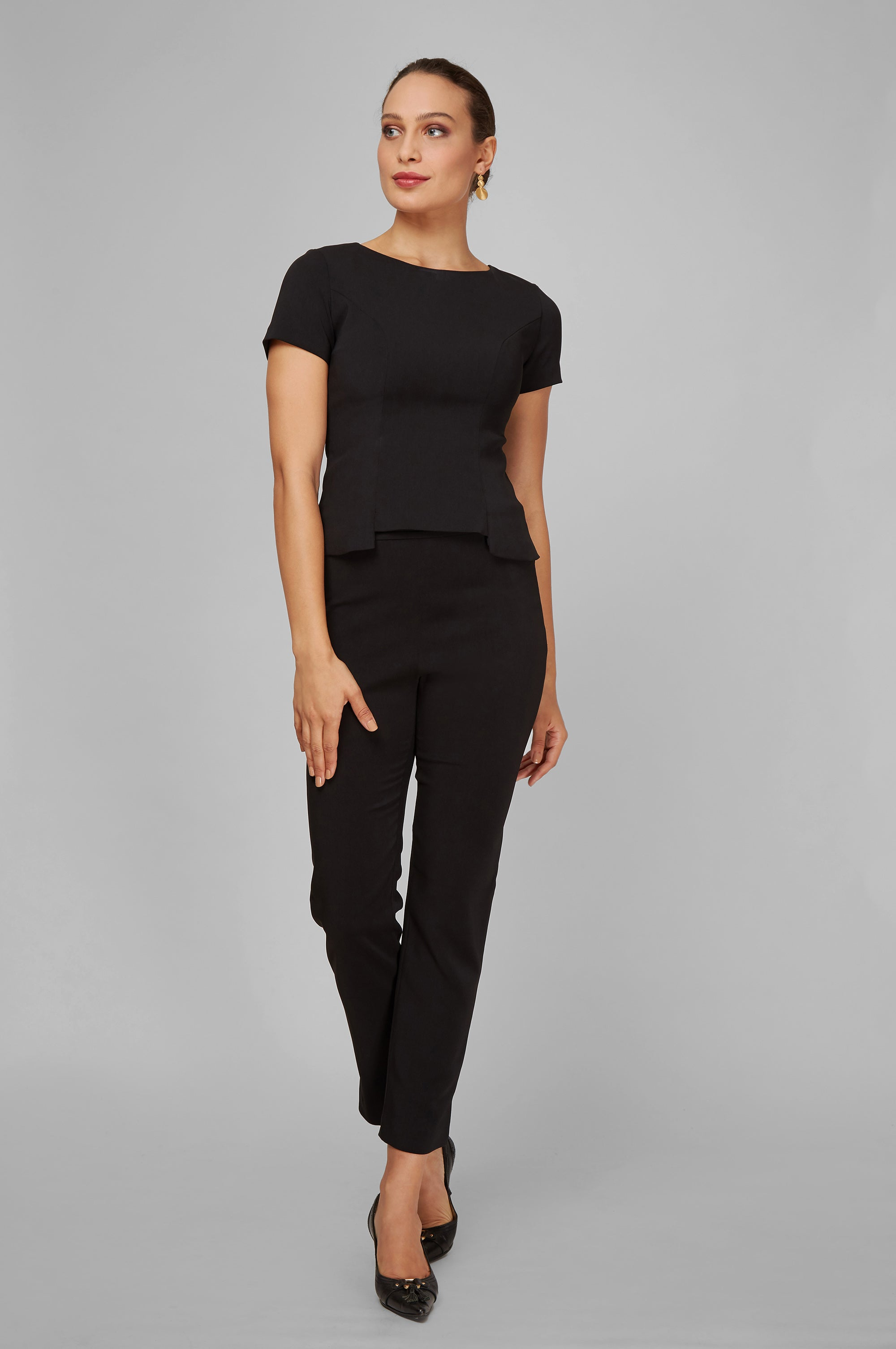 Women's Audrey Work Pant in Black | Nora Gardner - Front
