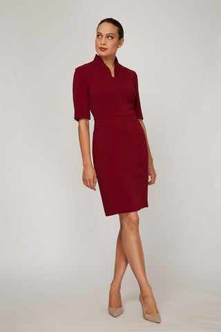 Sleeved Evelyn Dress - Bordeaux