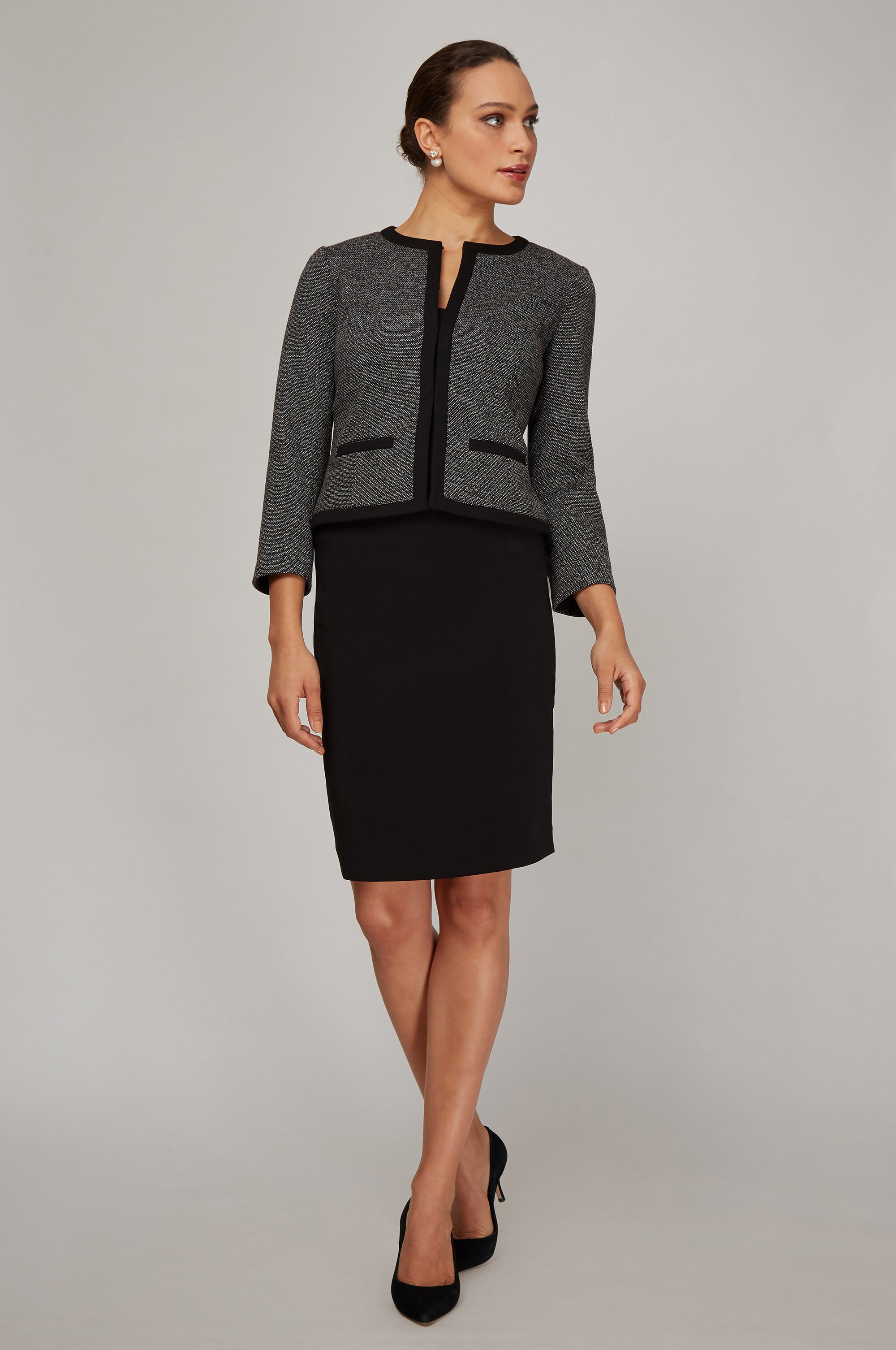 Women's Michelle Jacket in Black and White Knit | Nora Gardner