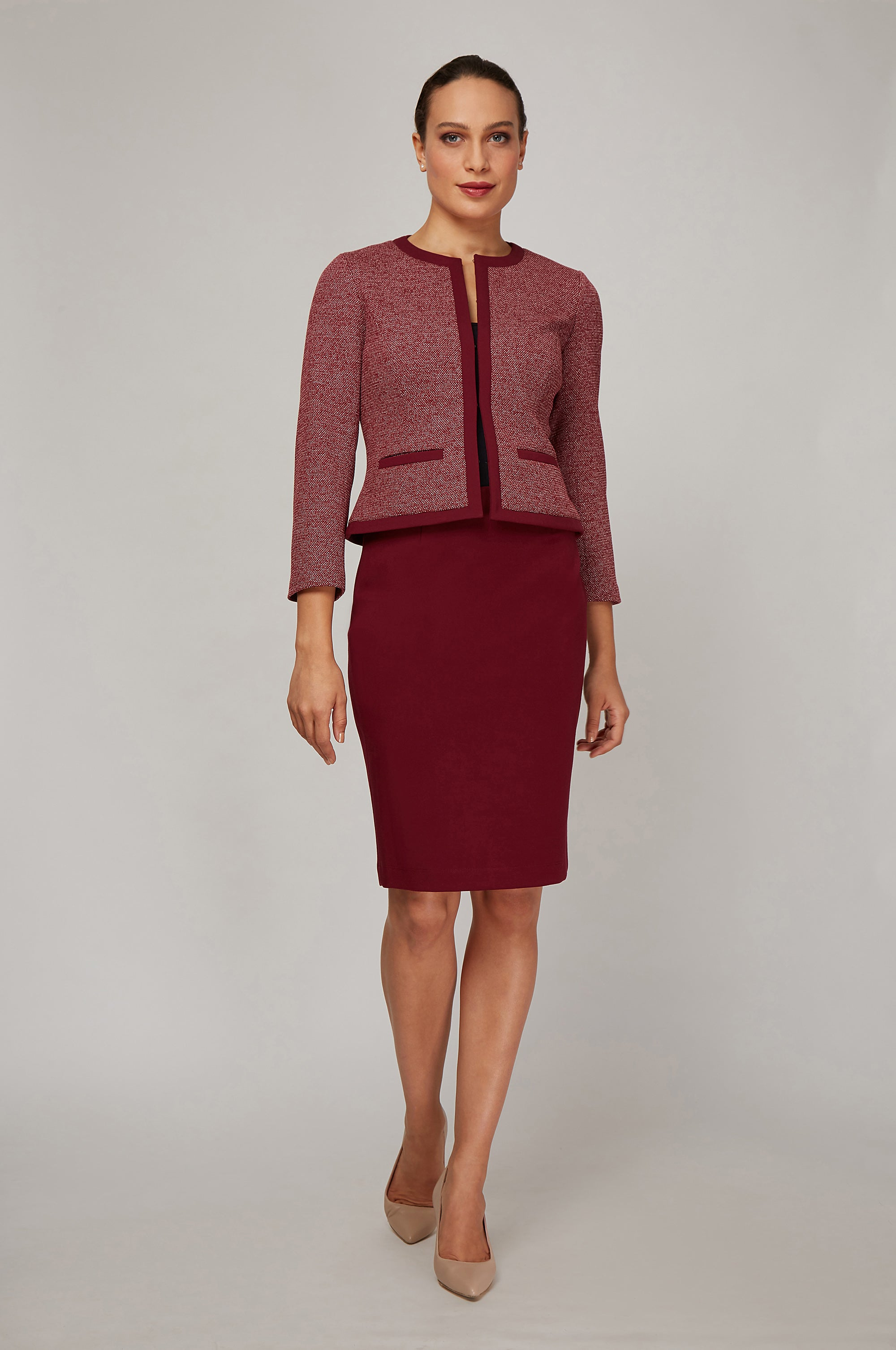 Women's Michelle Jacket in Burgundy Knit | Nora Gardner Front