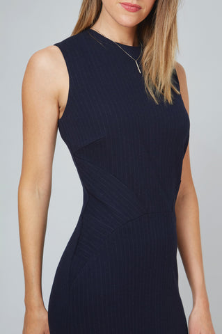 Detail Women's Editor Dress in Navy Pinstripe | Nora Gardner