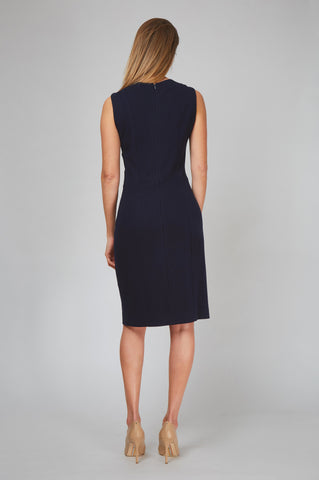 Back Women's Editor Dress in Navy Pinstripe | Nora Gardner
