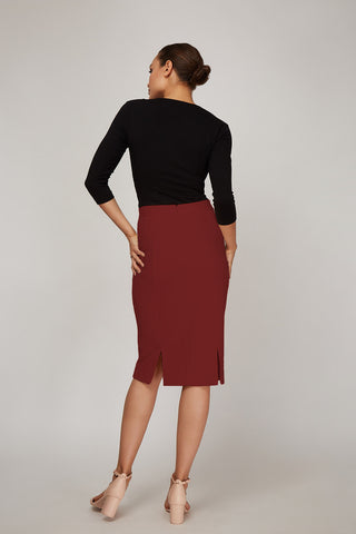 Women's Rita Skirt in Fire Brick | Nora Gardner Back
