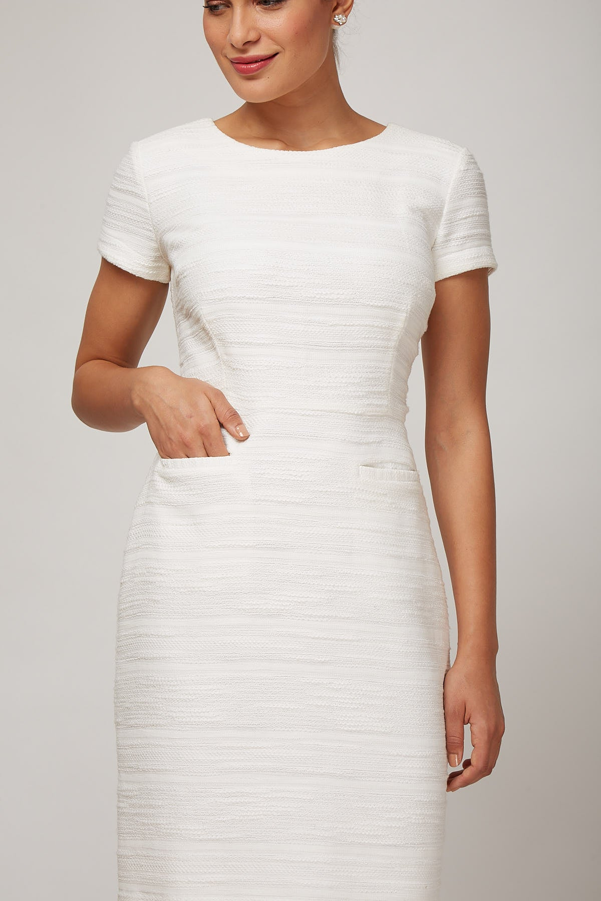 Women's Dinah Dress in Ivory Boucle | Nora Gardner - Pocket