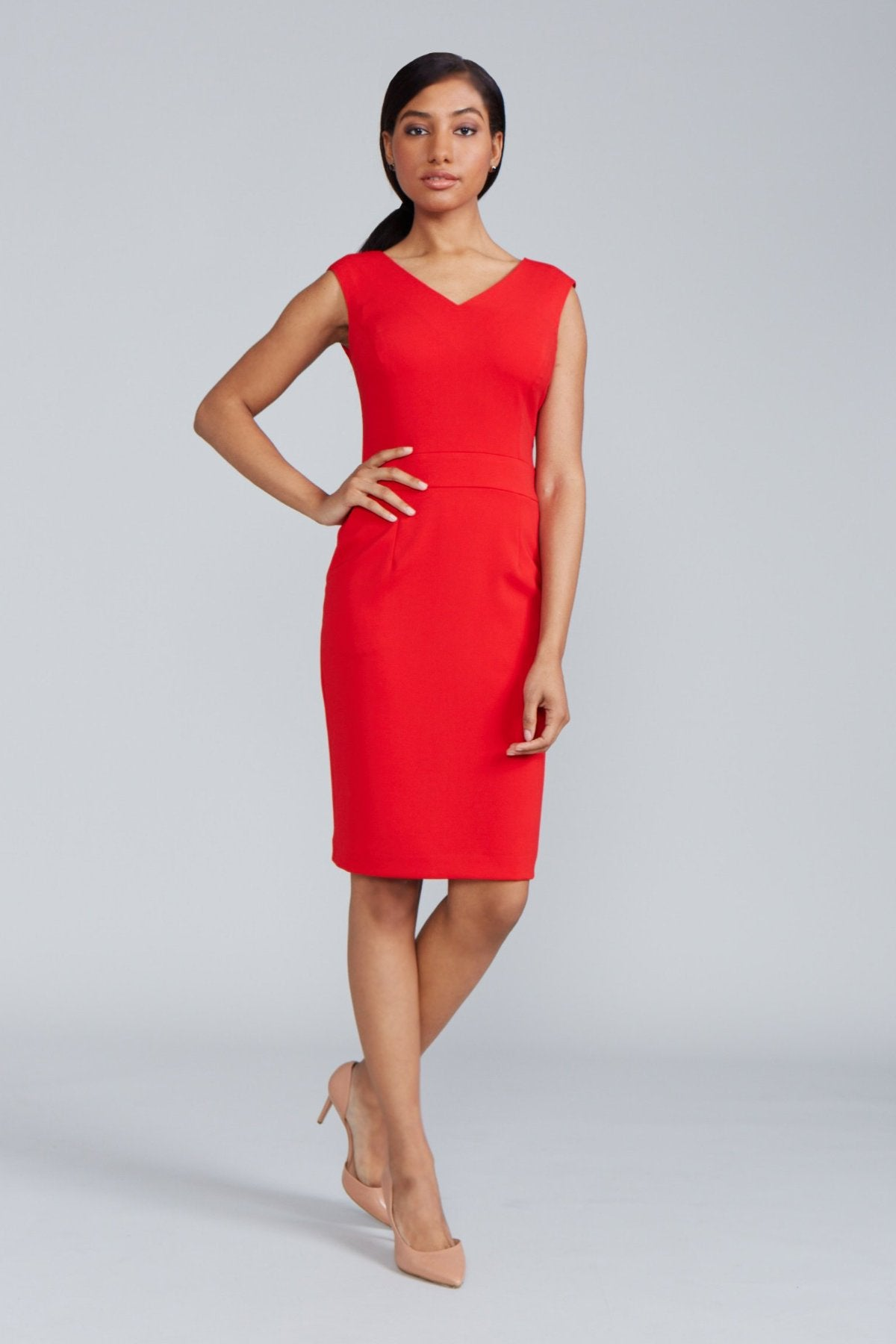 Women's Alyssa Dress in Power Red | Nora Gardner - Front