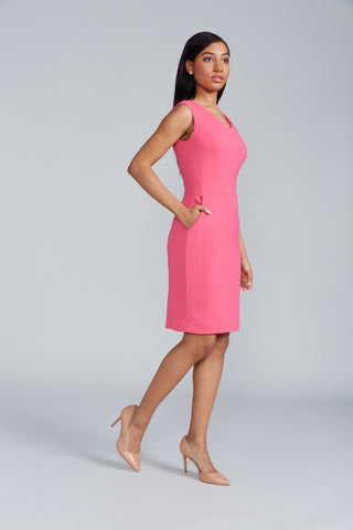Alyssa Dress Back V-Neck - Raspberry