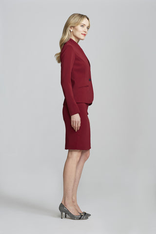 Women's Workwear – Nora Gardner Chelsea Skirt in Burgundy (side)
